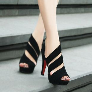 Fashion discount cheap black gladiator peep toes sexy red bottom high heels sandals women shoes spring summer 2013-in Pumps from Shoes on Al...