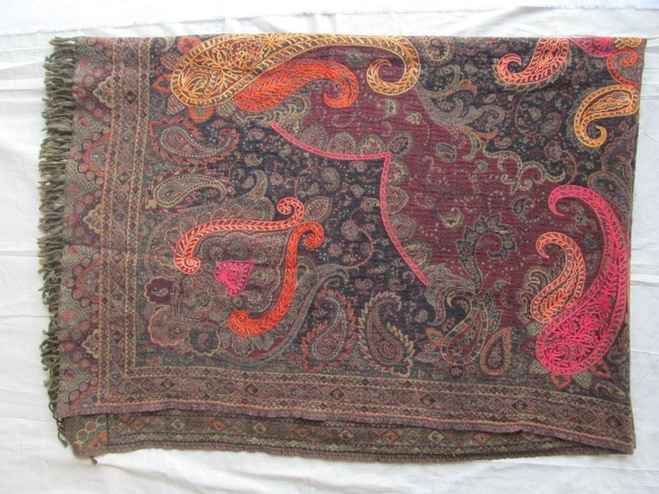 BOILED WOOL SHAWL PAISLEY HAND EMBROIDERY DESIGN JAMAWAR CASHMERE THROW BED  3981