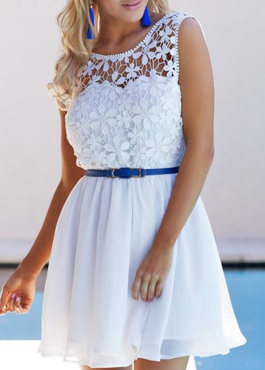 Sexy Open Back White Lace Patchwork A Line Dress on Luulla