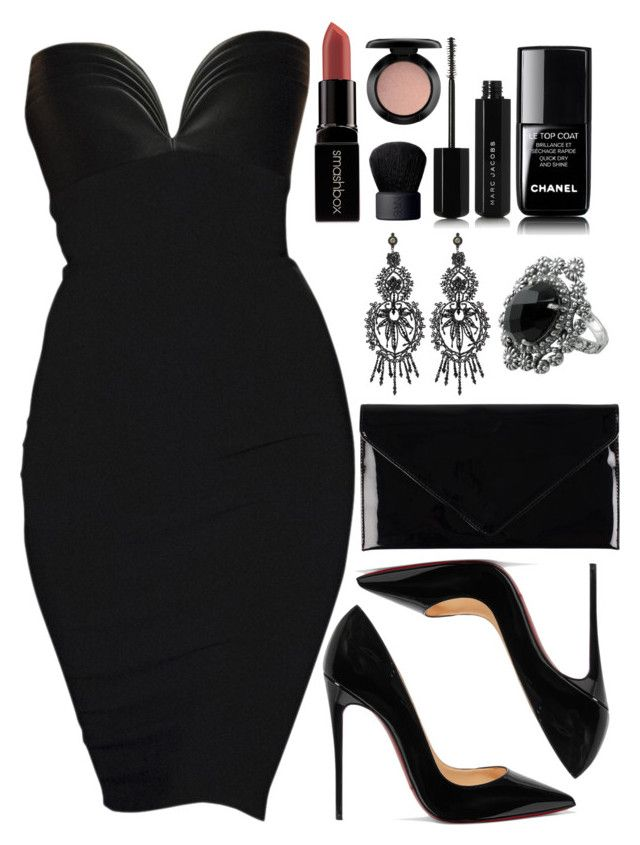 """""""Untitled #4609"""" by natalyasidunova ❤ liked on Polyvore featuring Christian Louboutin, Pieces, Gucci, NOVICA, Marc Jacobs, Chanel, Smashbox, MAC Cosmetics and NARS Cosmetics"""