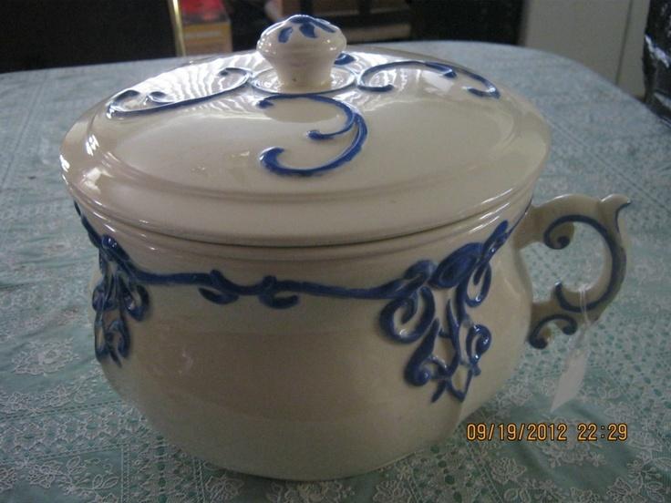 Antique chamber pot arnels beautiful toilet blue china - Pot de chambre antique ...