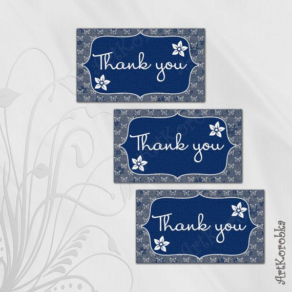 Blue butterfly THANK YOU cards  Flower Thank You by Artkorobka