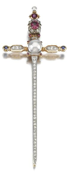 AN ANTIQUE GEM-SET AND DIAMOND BROOCH, CIRCA 1900. Designed as a sword, the pommel and grip accented with circular-cut rubies, a cabochon tourmaline, highlighted with single- and circular-cut diamonds, the cross-guard centring on a pearl measuring approximately 9.65mm to circular-cut sapphire terminals, the blade set with a tapered line of circular- and single-cut diamonds. #antique #brooch