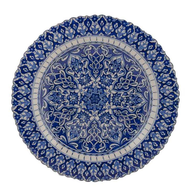 El - Aziz Koleksiyonu Çini Tabak Mavi-Beyaz