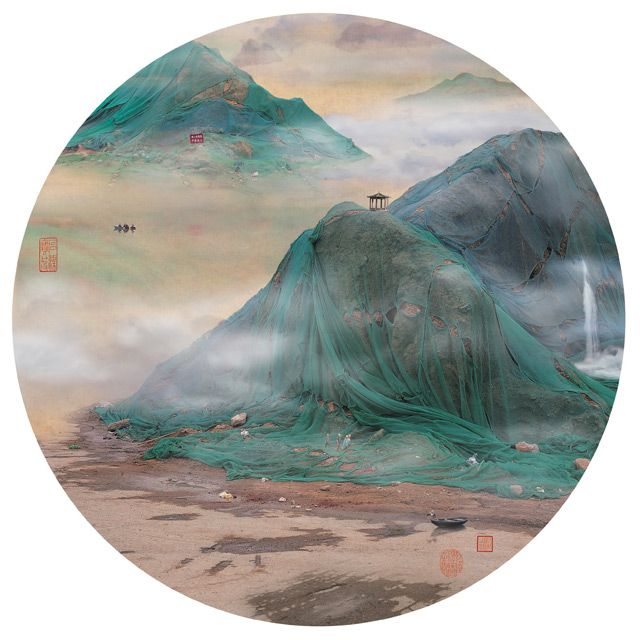 Paysages chinois trompeurs assemblés par Yao Lu à partir d'images de lieux désolés et pollués par l'industrie.