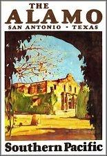 The Alamo Texas 1929 Southern Pacific Railroad Vintage Poster Art  Print