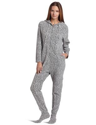 Grey animal print hooded footie pajama for girls - women's onesie