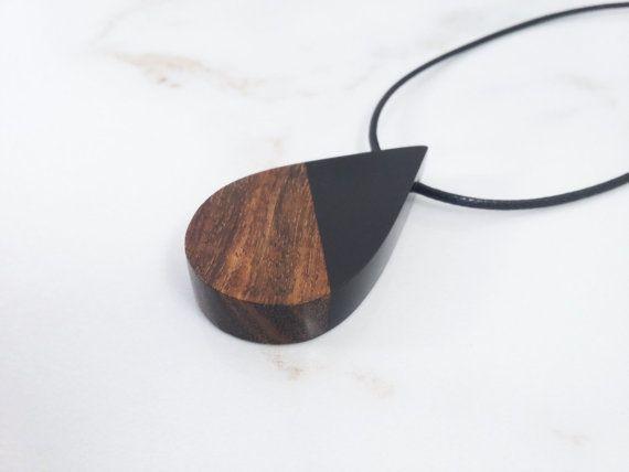 Black Resin Wood Necklace, Epoxy Wood Jewelry Pendant. Handmade Jewelry by WoodAllGood. #WoodAllGood