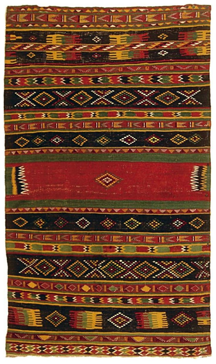 1950 Wool Oriental Rug Handmade Vintage Turkmen Hachli