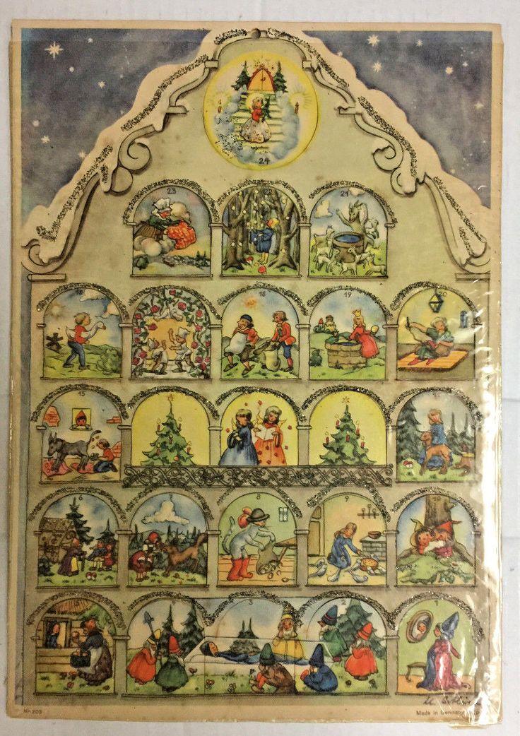 "Vintage 1953 German Advent Calendar CHRISTMAS HOUSE with Glitter 10¾x14½"""