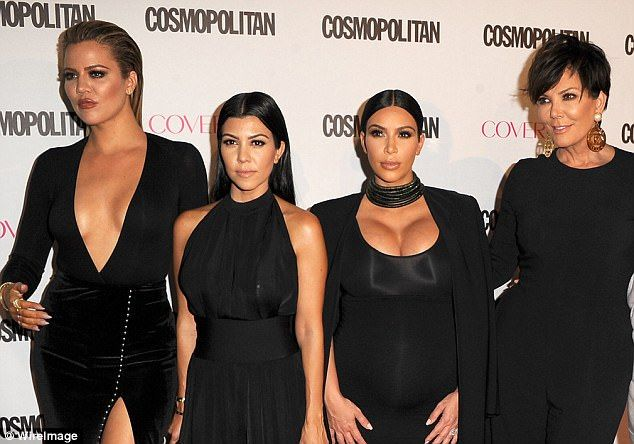 Suddenly silent:The women of the Kardashian family have not commented on Rob Kardashian's online attack and revenge porn posts of ex Blac Chyna (Khloe, Kourtney, Kim and Kris in 2015)