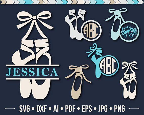 Ballet Shoes SVG Pointe SVG Cut File Dance Svg Ballerina Monogram Svg Shoe Frame Silhouette Ballet Dance Cutting files Svg Dxf Jpg Png Eps