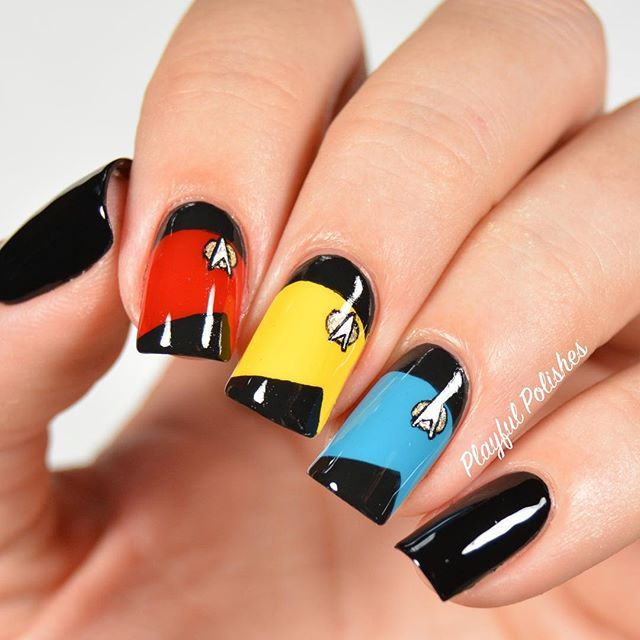 """I think it was really only a matter of time before I did Star Trek Nails. My husband and I are big Star Trek fans! Especially Next Gen, because, well...you know, Picard is The Shit! Anywho, this is my design for Day 23 of the #31dc2015, Inspired by a Movie."" Photo taken by @playfulpolishes on Instagram, pinned via the InstaPin iOS App! http://www.instapinapp.com (09/27/2015)"