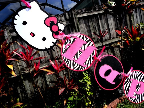 Adorable Happy Birthday Banner - Hello Kitty Collection - Zebra Print and Hot Pink. $28.00, via Etsy.