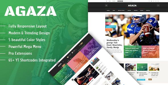 Agaza  Responsive Joomla Template For News/Magazines