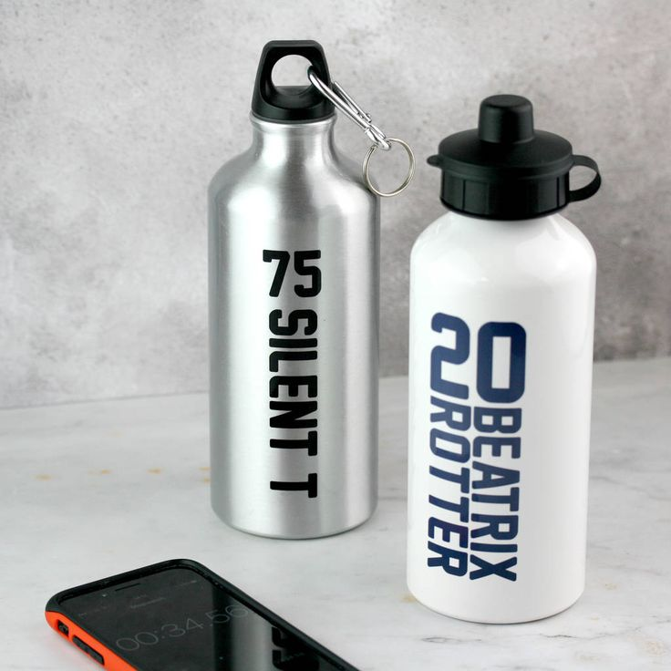 Personalised Sports Name And Number Water Bottle from Claire Close Studio.  Getting out and about this summer? Refuel and rehydrate in style with our personalised water bottles!  Available in a stylish brushed silver metallic finish, or classic white.   #claireclose