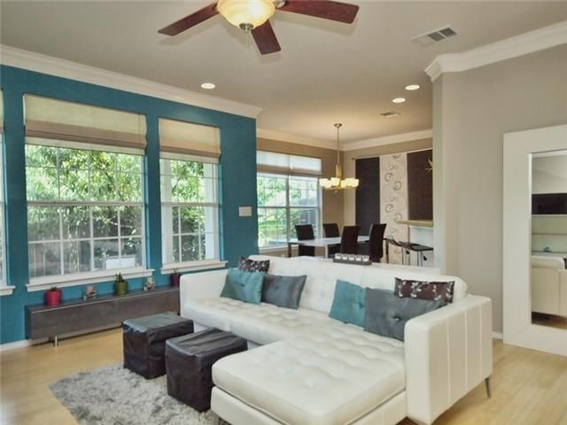 Teal blue pop of color  beautiful accent wall  and modern furniture set up. 61 best Modern Life images on Pinterest   Texas  Austin tx and Condos