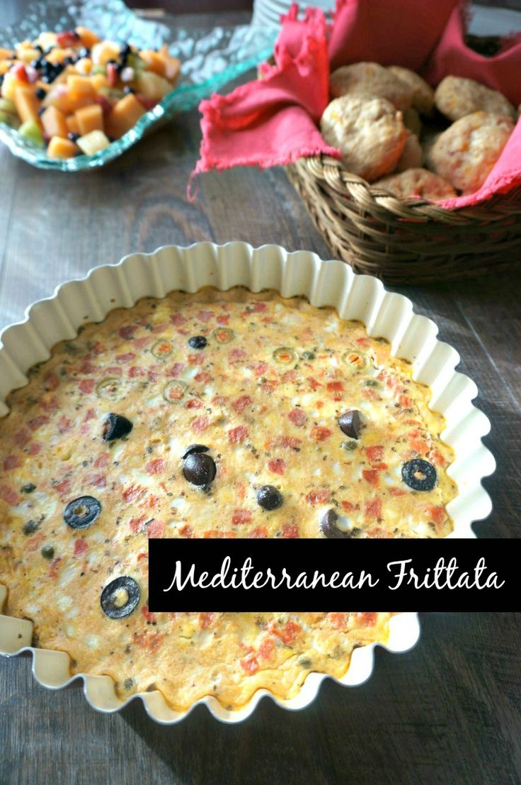 Olive frittata with text overlay that says Mediterranean frittata