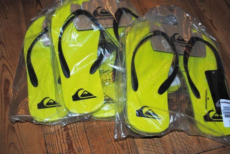 Mens QUIKSILVER  Molokai Neon Green/Yellow Flip Flops NWT USA Seller #Quiksilver #FlipFlops
