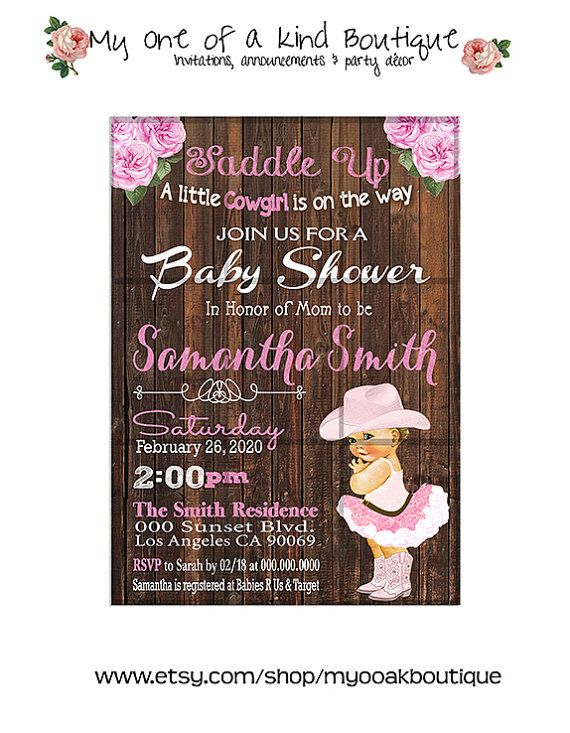 Cowgirl Baby Shower invitation vintage pink country wood