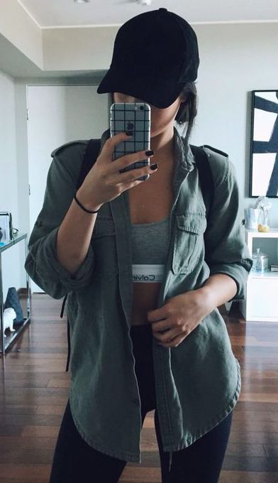 black baseball cap + olive button down + #calvinklein sports bra