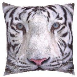 Cuscino divano arredo casa letto tessuto tigre bianca