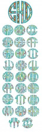 Circle Applique Monogram Alphabet Machine Embroidery Designs by JuJu