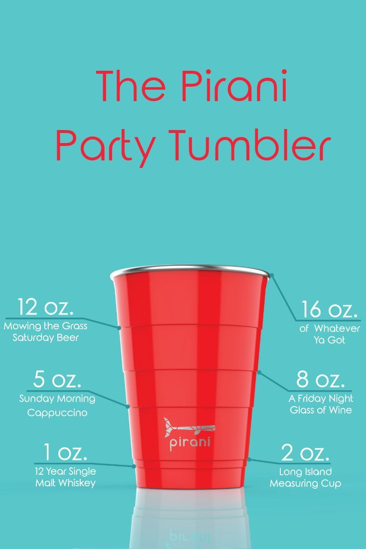 Pirani Party 16oz Insulated Tumbler Beer Pong Cups Party Cups Bring Your Own Cup
