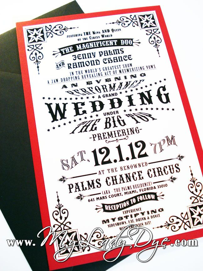 80 best wedding circus invitations images on pinterest carnival my lady dye handcrafted stationery vintage circus wedding invitation stopboris Image collections