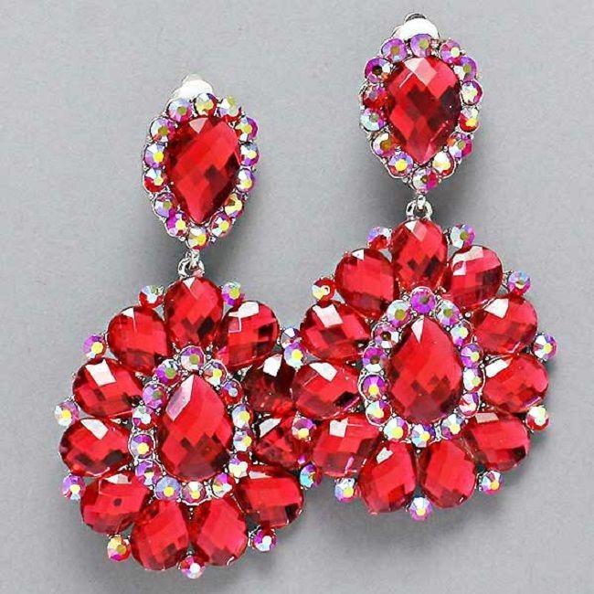 Red Ab Crystal Chandelier Rhinestone Clipon Bridal Drag Queen Pageant Earring Pr