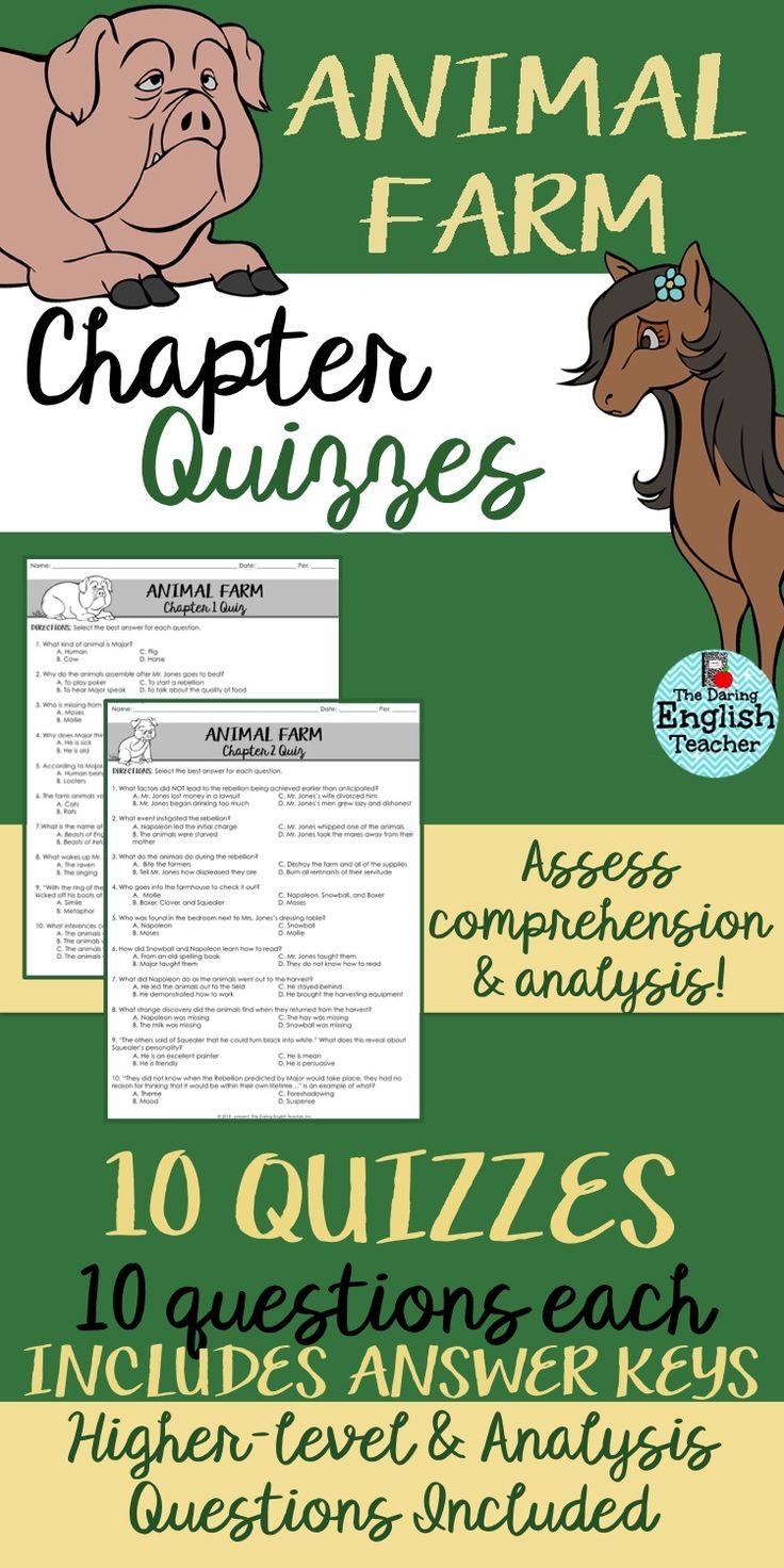 Use These Animal Farm Chapter Quizzes To Assess Your Students Comprehension Teaching British Literature Character Trait Worksheets Teaching Literary Analysis