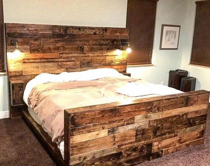 Tete De Lit Rustique Lumieres Rustiques Tete De Lit Tete De Etsy Rustic Bed Frame Rustic Bedding Sets Rustic Wood Headboard