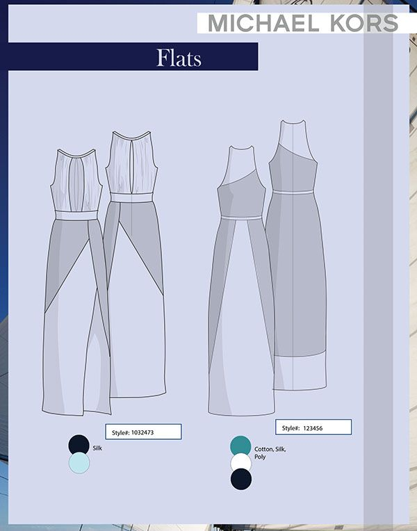 Designed a collection of dresses for Michael Kors. Spec sheets and cost sheets included.