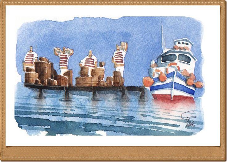 Pescatori - Fishermen - Gianluigi Punzo - Naples - Napoli - Italy - Italia - Watercolor - Acquerello - Aquarelle - Acuarela