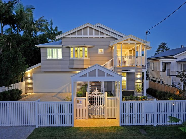 Grey and white Queenslander facade