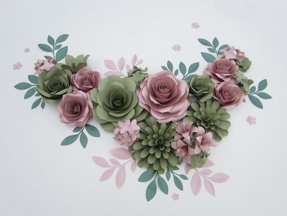 Dusty Rose And Green Giant Paper Flowers Wall Backdrop For
