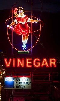 Audrey, The Skipping Girl, historic 1937 neon sign, Abbotsford, Melbourne, Victoria. Restored in 2009, it was announced in 2012 that she was to be converted to solar energy. Photo by Ari Hatzis | The Age