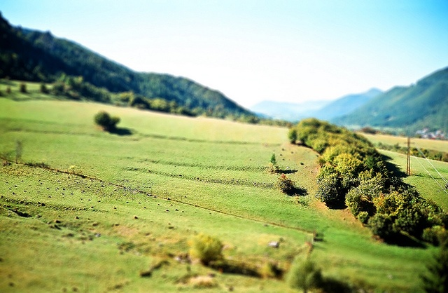 tilt-shift effect photo taken from Oravcove near Terchova in Slovakia