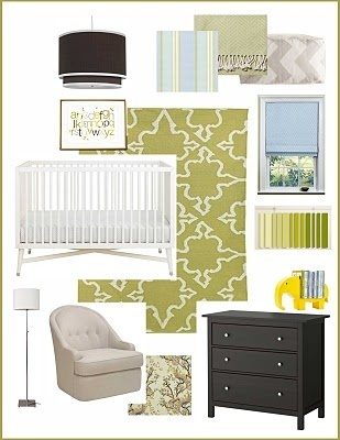 varying shades of green (celadon, chartreuse, apple) with chocolate brown, soft blues and pops of yellow. It's soothing with a touch of whimsy.