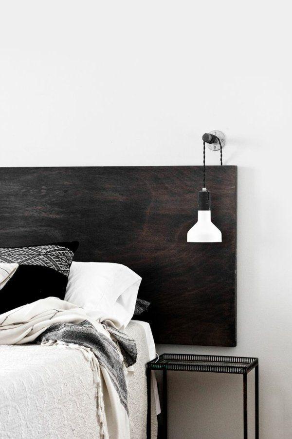 Chambre minimaliste en blanc et noir