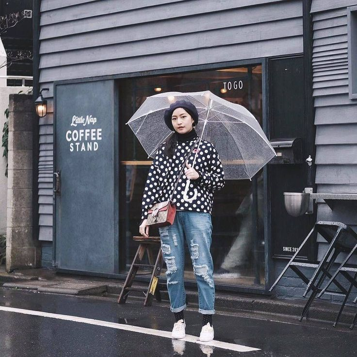 Polkadot sweater on rainy days. #youxcottonink #ootd | COTTONINK