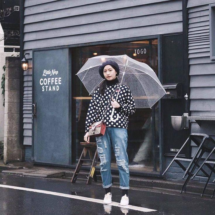 Polkadot sweater on rainy days. #youxcottonink #ootd | COTTONINK