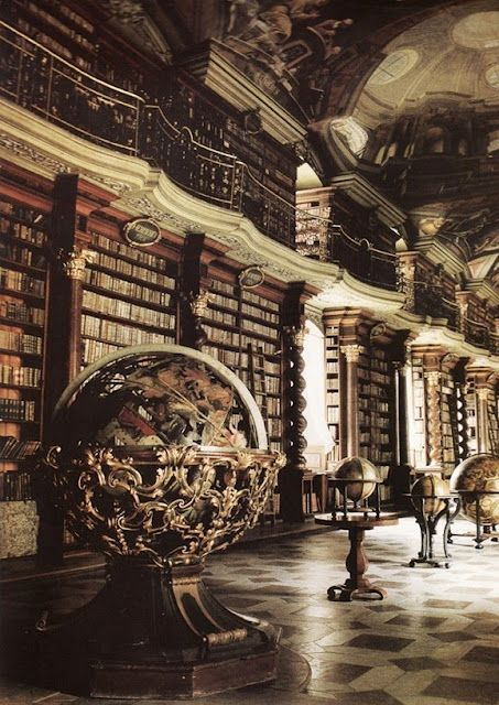 Baroque Library hall in Klementinum (The Clementinum) Library (Astronomickou věž Klementina), Prague, Czech Republic.