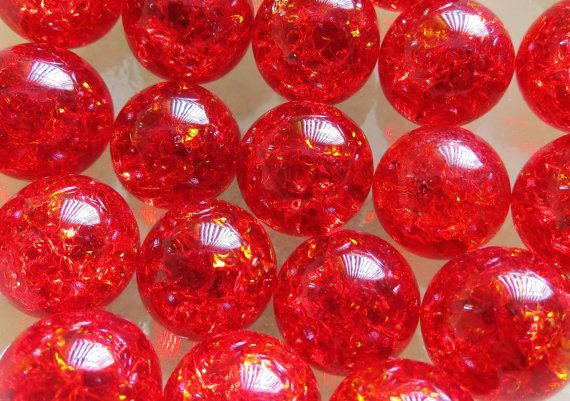 """Twenty(20) 9/16"""" 14mm Ruby Red Marbles, Fried Marbles, Cracked Marbles, Glass Marbles, Marbels"""