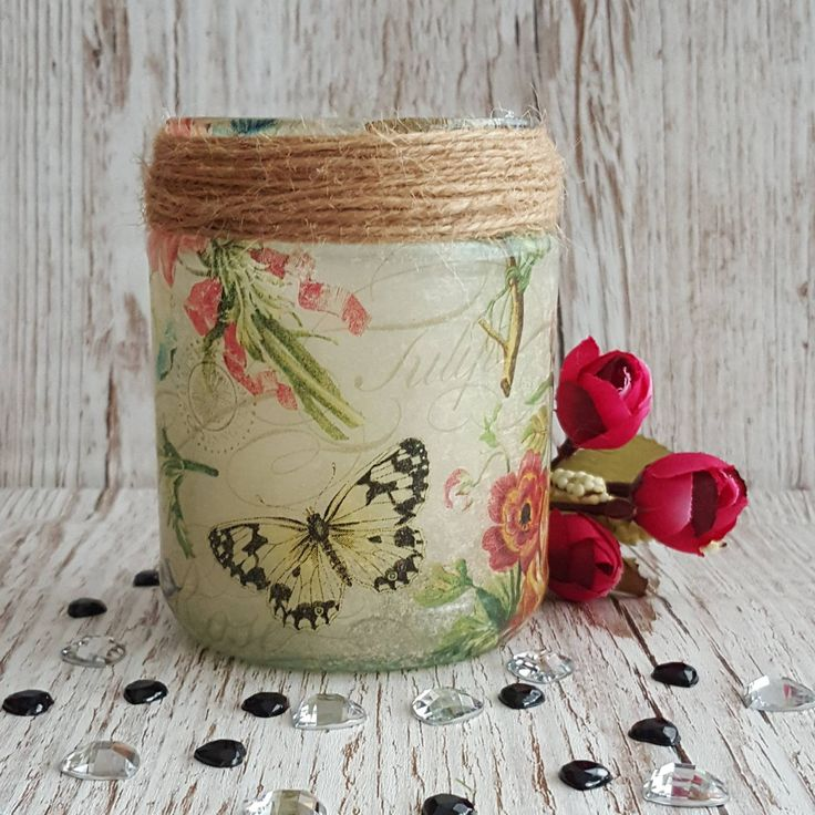 Flowers and Butterflies Rustic Jar Light, Upcycled nightlight, recycled, chic, pen holder, vase, repurposed country cottage style #etsy #jarlight #shabbychic #rustic #upcycle https://etsy.me/2pKfXOu