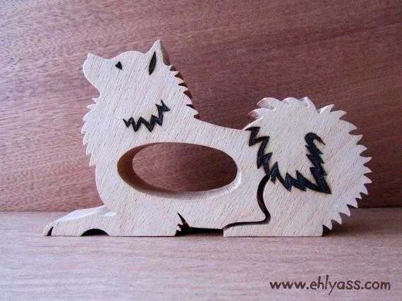 Rond de serviette en bois chien eurasier 3 en chantournage - Rond de serviette en bois a decorer ...