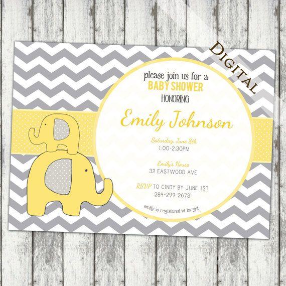 Chevron Baby Shower Invitation elephant Baby Shower Invitation gender neutral yellow and grey baby shower Invites (item111))