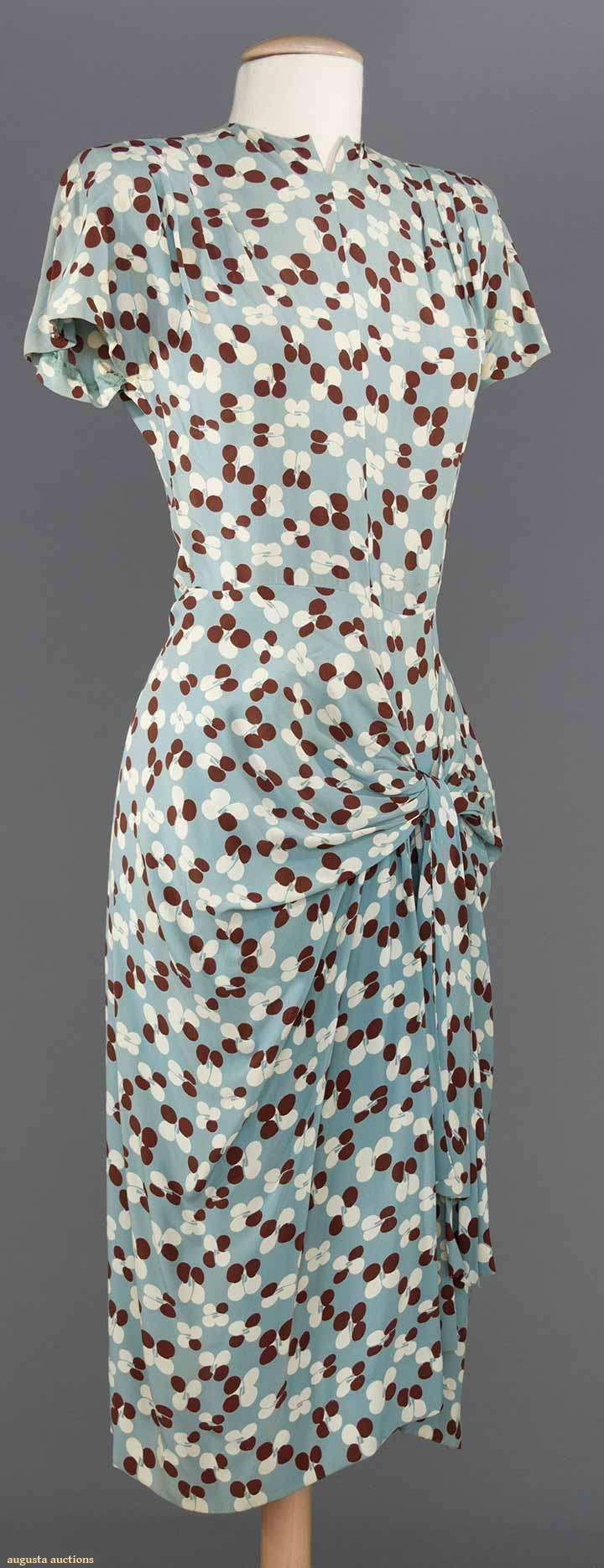 "PRINTED SILK DAY DRESS, 1940s blue grey w/ white & chocolate petals, sarong skirt, B 32"", W 26"", L 42"""