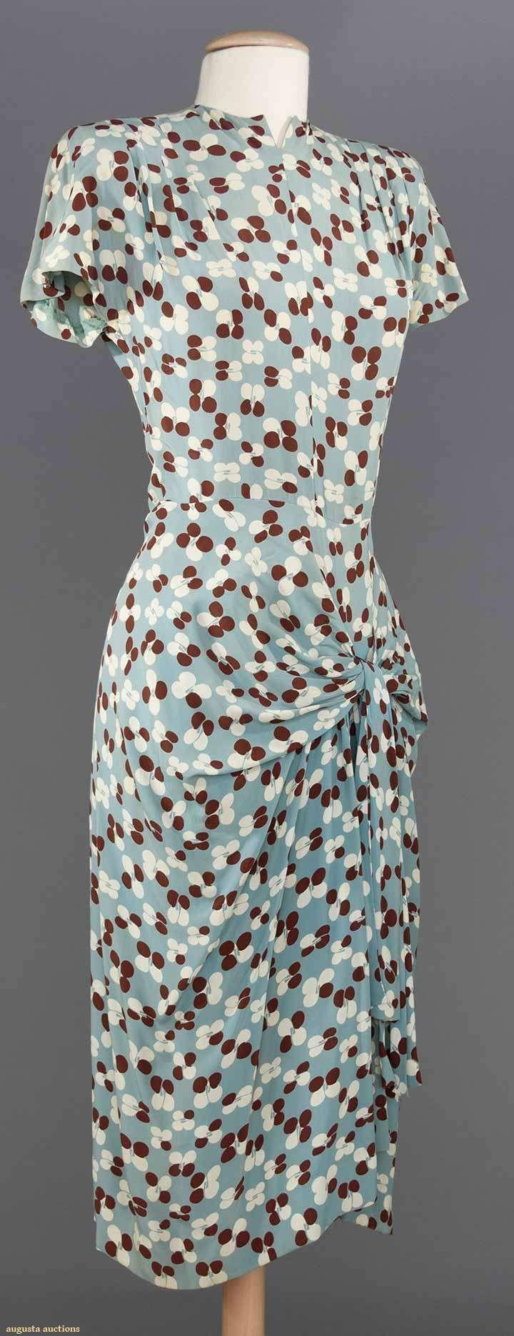 "PRINTED SILK DAY DRESS, 1940s blue grey w/ white & chocolate petals, sarong skirt, B 32"", W 26"", L 42"""