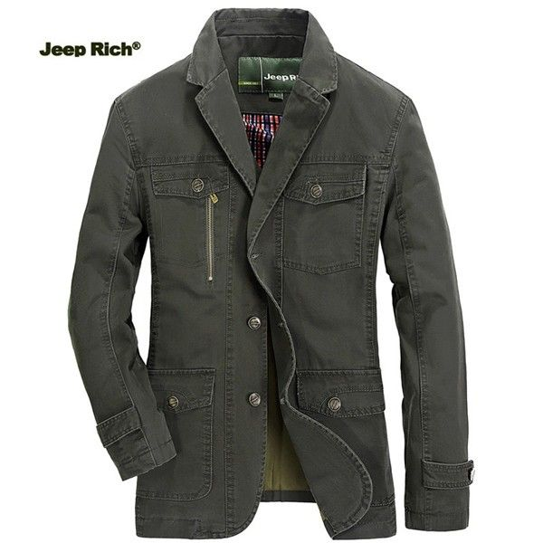 Jeep Rich® Mens Outdoor Jacket Turndown Collar Solid Color Casual Business Cotton Coat sales-NewChic Mobile.